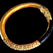 REDUCED Ciner_ Signed 1980's  Art Deco Revival Black Enamel Crystals Clamper Bangle Bracelet