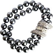 SALE Nolan Miller  Signed 1990's  Palm Beach Faux Tahitian Pearls and Swarovski Crystals Lin