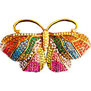SALE Joan Rivers-  Signed  1990's Sizable  Magnificent  Moth Swarovski Crystals  Rainbow ...