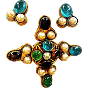 Chanel- Rare 1994 Runway  Cruciform   Brooch/Pendant And Earrings Demi-Parure