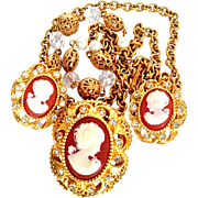 R.J. Graziano 1990's Faux Cameo Sautoir Necklace/Pendant/Brooch/ Earrings Demi-Parure
