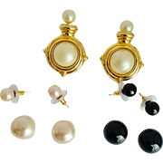 SALE Kenneth Jay Lane  1990's  Rare Signed Interchangeable Clip-On Faux Pearls Earrings And