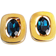 SALE Sphinx Vintage  1980's Signed  Rare Oval Teal Blue Crystal  Gold Tone Clip-On Earrings