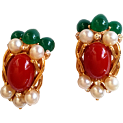 REDUCED Crown Trifari- 1960' Alfred Philippe Jewels of India Kashmir Clip-on Earrings