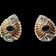 SALE Nolan Miller 1990's Blue Venus Swarovski Crystals And 18kt GP Clip-On Earrings