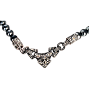REDUCED Judith Jack  Sterling Silver, Marcasites, Imitation Charcoal Gray Pearls Necklace