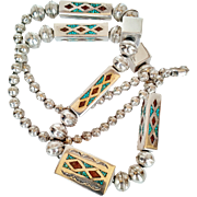 REDUCED Contemporary  Designer --  Handmade 925 Sterling Silver, Turquoise, Pipe Stone and Ony