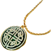 "REDUCED Nolan Miller Guilloche ""Medallion"" Art Deco Style Pendant Necklace"