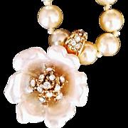 REDUCED Nolan Miller 1990's  Carved Faux Pearl Flower Enhancer/Pendant On Imitation  Pearls ..