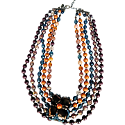 REDUCED Joan Rivers Rare 1990's Wood And Glass Czech Beads 5-strand Necklace With A ...