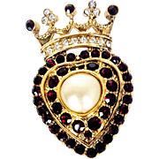 REDUCED Kenneth Jay Lane 1990's Rare  Crowned Heart Garnet Red  Crystals  Faux Pearl Brooch