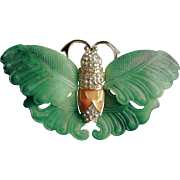REDUCED Kenneth Jay Lane Molded Jade Epoxy Crystals Enameled  Butterfly Brooch
