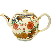 Antique Chinese Porcelain Teapot, Tobacco Leaf Pattern