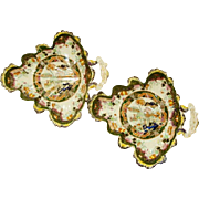A PAIR Of Masons Ironstone Sweetmeat Dishes, Leaf Form. Muscovy Duck Pattern.