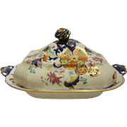 "Antique English Spode (?) Porcelain Covered Dish In ""English Tobacco Leaf"""