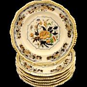 Antique English Grainger Lee Worcester Porcelain Service Plate, Lotus pattern, 6 available.
