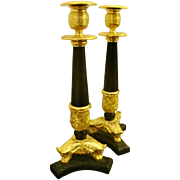 A Fine PAIR Of Empire Lion's Foot Candlesticks, Candleholders