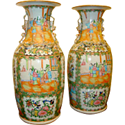 A Fine PAIR Of Antique Chinese Porcelain Rose Medallion / Rose Canton Vases