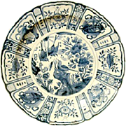 Large Chinese Porcelain Blue and White Kraak Charger, Wanli