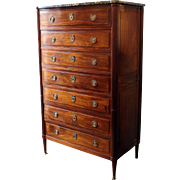 c. 1780 French Louis XVI Marble Top Mahogany 7-Drawer Commode