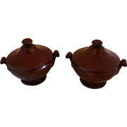 Pair of French Redware Soup Tureens
