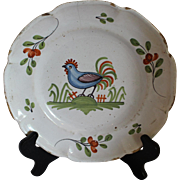 Faience Plate with Blue Rooster