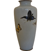 Ando Jubei Signed Golden Age Butterfly Cloisonne Vase
