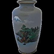 A Yusen-Jippo & Musen-Jippo Japanese Golden Age Cloisonne Vase Depicting Mt. Fuji
