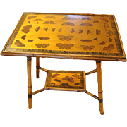 English Bamboo Side Table with Butterflies