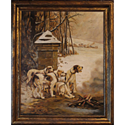 """Hunting Dogs Warming by the Fire"", French oil on canvas"