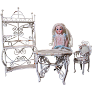 White Sun Room Doll Furniture-White Metal