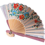 Beautiful Old Silk Doll Fan-Red Roses