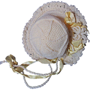Fancy Old Knit Baby Doll Bonnet