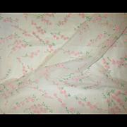 SALE Beautiful Vintage Nylon Organdy Flocked Fabric