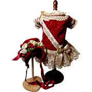 Heavenly Antique Velvet Doll Dress & Bonnet