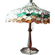 REDUCED Bradley and Hubbard Parlor Lamp with Stained Glass Shade