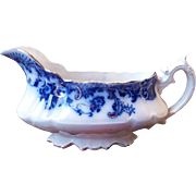 "Flow Blue ""Mikado"" Pattern Gravy Boat by W E Corn"
