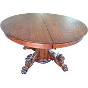 REDUCED Round Oak Dining Table with Carved Lions Heads and Paw Feet