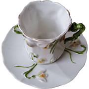 RS Prussia Jonquil Mold Demitasse Cup and Saucer