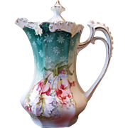 RS Prussia Rose Bud Mold Chocolate Pot