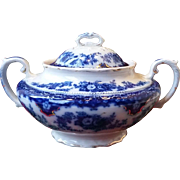 Wh Grindley Flow Blue Florida Pattern Sugar Bowl