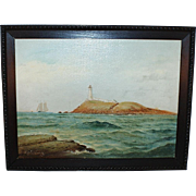 D.A. Fisher 1891 Seascape Oil Painting of Egg Rock Island Lighthouse Nahant, Massachusetts