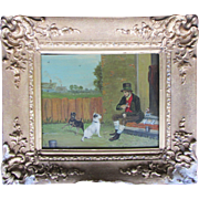 CHARMING ANTIQUE EARLY VICTORIAN OIL PAINTING ON PANEL TERRIERS WITH MASTER (IRISH SCHOOL)