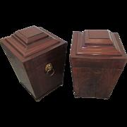 Pair English George 111 C1790 Mahogany Boxes