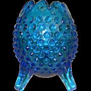 Vintage Fenton Blue Hobnail 3 Footed Egg Shaped Vase