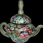 Vintage Murano Millefiori Matte Finish Paperweight Teapot