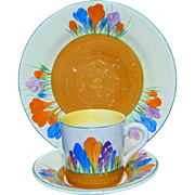 SALE Clarice Cliff Coffee Can, Saucer and Side Plate in Crocus Design - Circa 1930