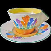 Clarice Cliff Solid Conical Art Deco Tea Cup and Saucer - Crocus Design - Circa 1930