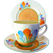 Clarice Cliff Tea Cup, Saucer and Side Plate Tea - Autumn Crocus - Circa 1930