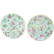 SALE Beautiful Pair of Pre-1850 Chinese Celadon Famille Rose Plates